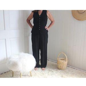 Vintage 1980s 80s Black Sleeveless Jumpsuit
